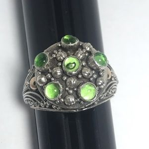 Jewelry - Vintage Green Moonstones silver Ring